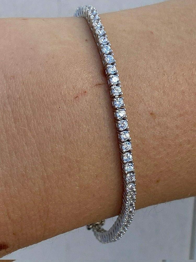 925 Sterling Silver Tennis Bracelet 2MM CZ Diamond 925 Sterling Silver Tennis Bracelet Tennis Chain Bracelet Diamond Chain