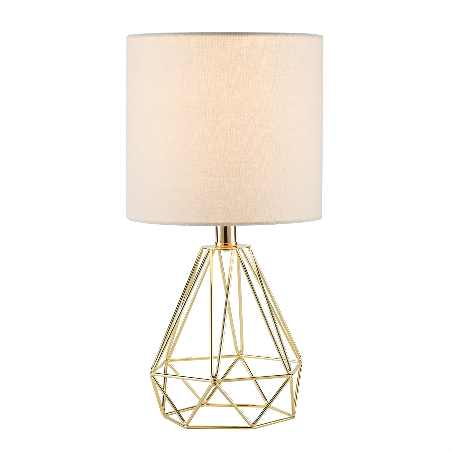 CO-Z Modern Table Lamp with White Fabric Shade, Gold Desk Lamp with Hollowed Out Base 18 Inches in Height for Living Room Bedroom Dining Room(Gold Base)