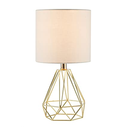 CO-Z Modern Table Lamp with White Fabric Shade, Gold Desk Lamp with ...