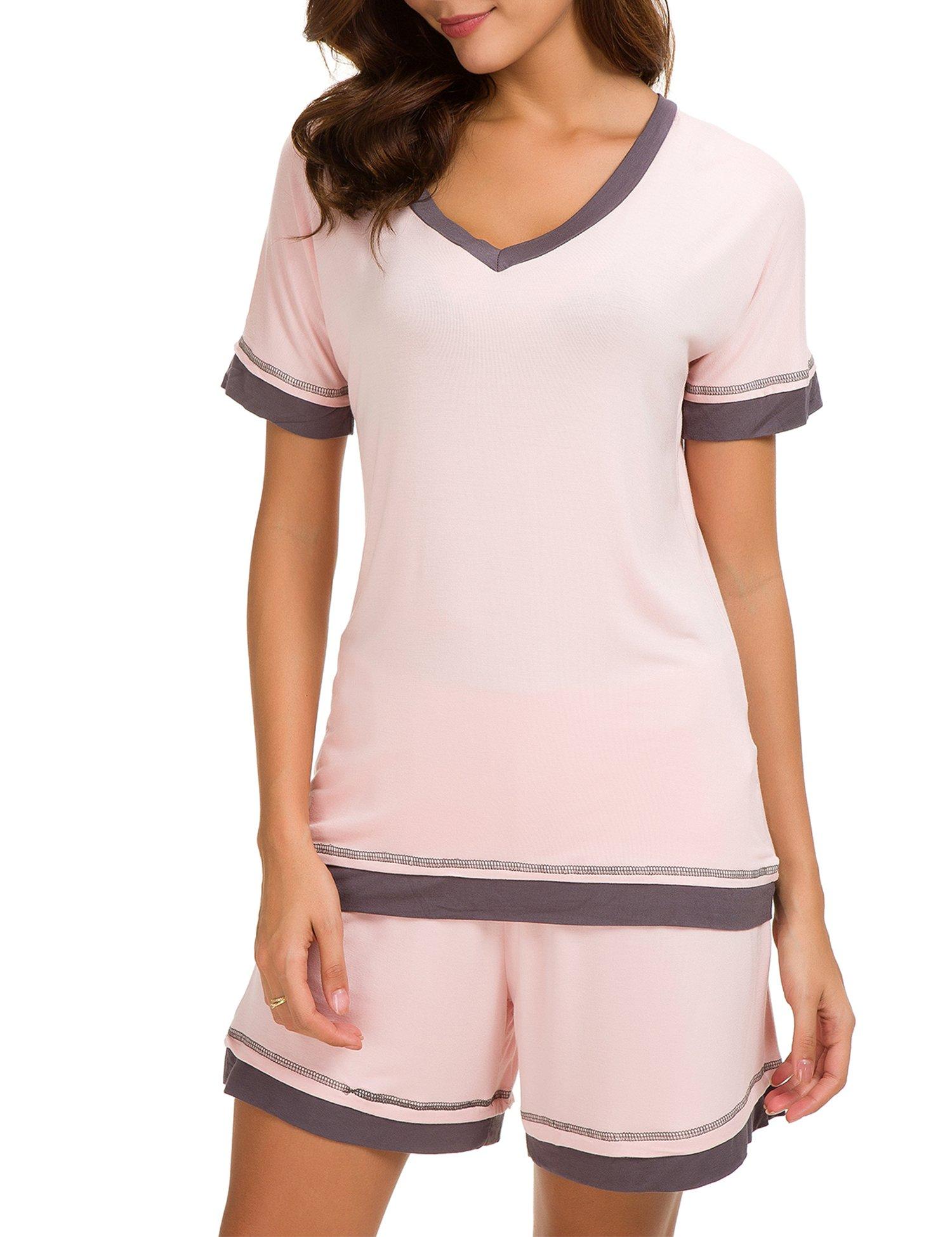 Dolay Short Pj Set Woman Cotton Knit Pajamas Summer Plus Size Sleepwear Nighty Sets (Pink, XXL)