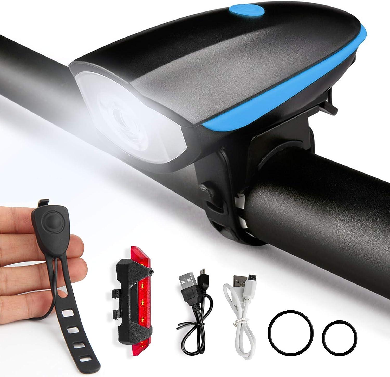 ANVAVA Luz Bicicleta Delantera y Trasera Recargable Conjuntos Linterna Bicicleta LED Faros Impermeable con Bici Campana para Carretera Montaña Cámping Emergencia Noche Ciclismo