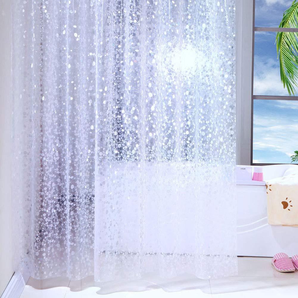GreeSuit Tende da Doccia Fodera per Tende da Bagno in Tessuto Bagno Poliestere Decorativo Impermeabile con 12 Ganci Resistente alla Muffa Lavabile 180 cm x 180 cm Bianco 1