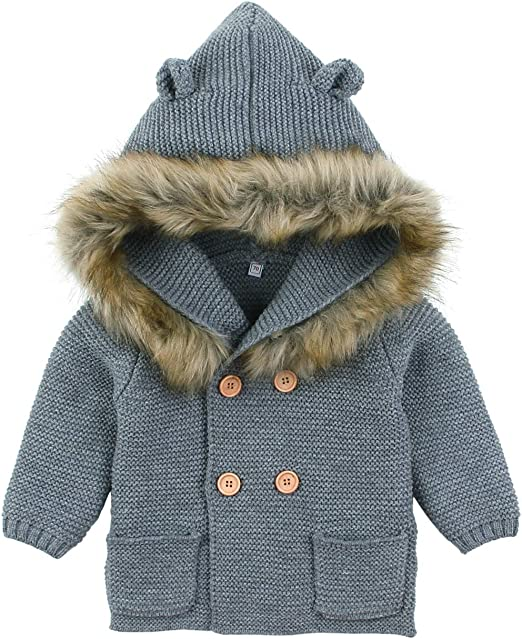 Toddler Kids Baby Girls Boys Winter Warm Bear Hooded Sweater Coat Jacket Outwear