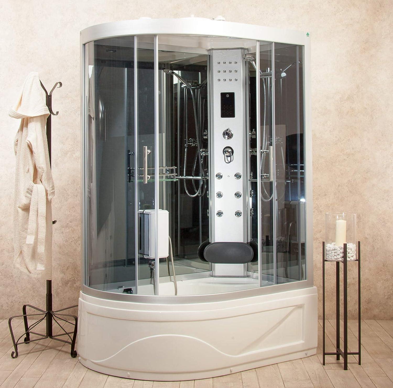 Box ducha hidromasaje bañera sauna y baño turco entrada a derecha 130 x 85 cm vorich Florence: Amazon.es: Hogar
