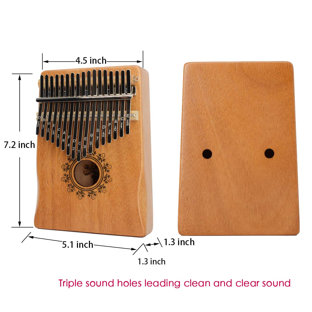 17 Key Kalimba Thumb Piano, Bindor Finger Piano Mbira Kalimba Solid Mahogany Body Portable Easy-to-learn Musical Instrument with Tuning Hammer(Wood Color) by BinDor (Image #3)