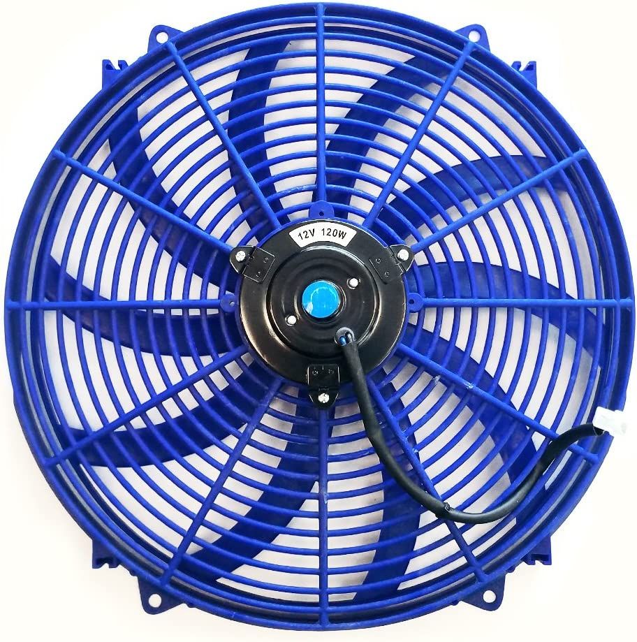 Upgr8 Universal High Performance 12V Slim Electric Cooling Radiator Fan With Fan Mounting Kit (16 Inch, Blue)