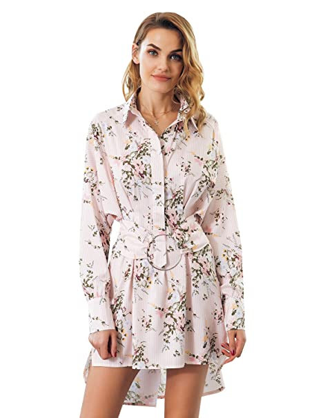 a2721692953 Simplee Apparel Women s Foral Print Stripe Long Sleeve Mini Short Dresses  with Belt