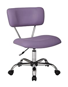 AVE SIX Vista Faux Leather Seat and Back Task Chair with Chrome Accents, Purple