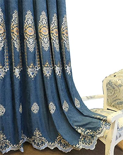 TIYANA Blue Luxury European Chenille Cloth Embroidered Curtain Panel