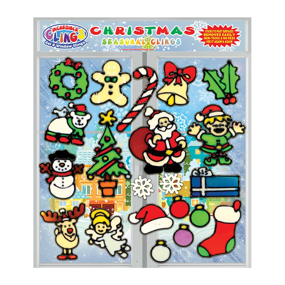 Christmas Holiday Gel Clings for Kids & Toddlers - 21 Piece Xmas Window and Wall Clings - Reusable and Removable Thick Strong Vinyl Gels - Santa, Rudolph, Stocking, Candy Cane, Snowman and More!
