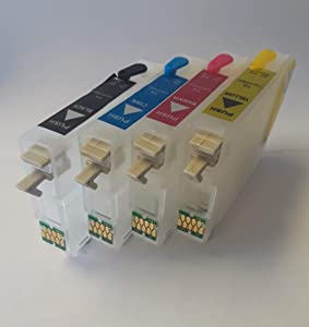 Refillable Empty for use in Workforce WF-3620 WF-3640 WF-7110 WF-7710 WF-7720 WF-7220 WF-7210 7710 7720 3620 3640 Printers ARC Auto Reset chip to Fill with Sublimation Pigment or dye