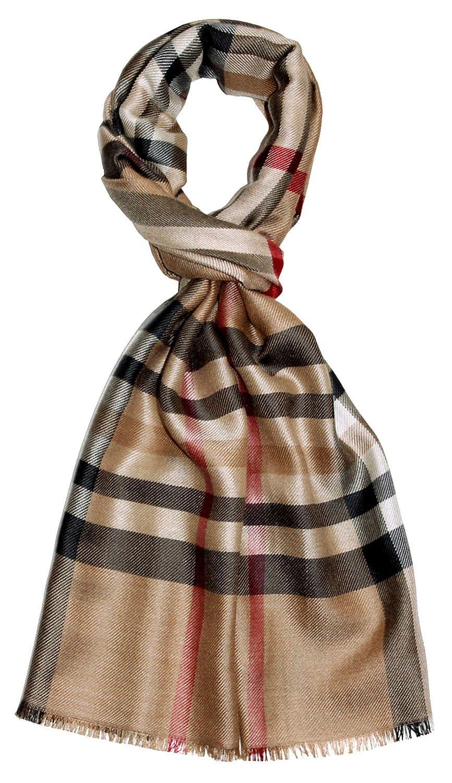 Lorenzo Cana Eleganter Herren Schal Made in Germany 50/% Kamelhaar 50/% Seide Hergestellt in Deutschland Schaltuch Check gewebt Camel Rot Weiss 7846511