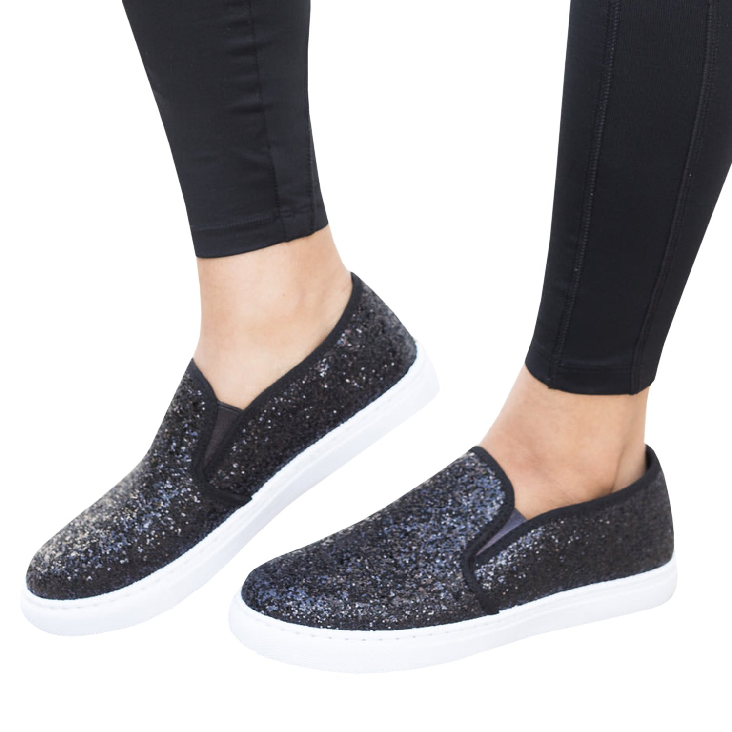 Ivay Women's Sparkly Glitter Fashion Sneakers Canvas Shoes Elastic Side Support