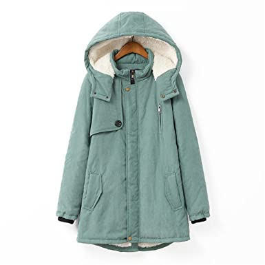 Josherly Winter Women Hooded Padded Jacket Coat Warm Jackets and Coats green XL