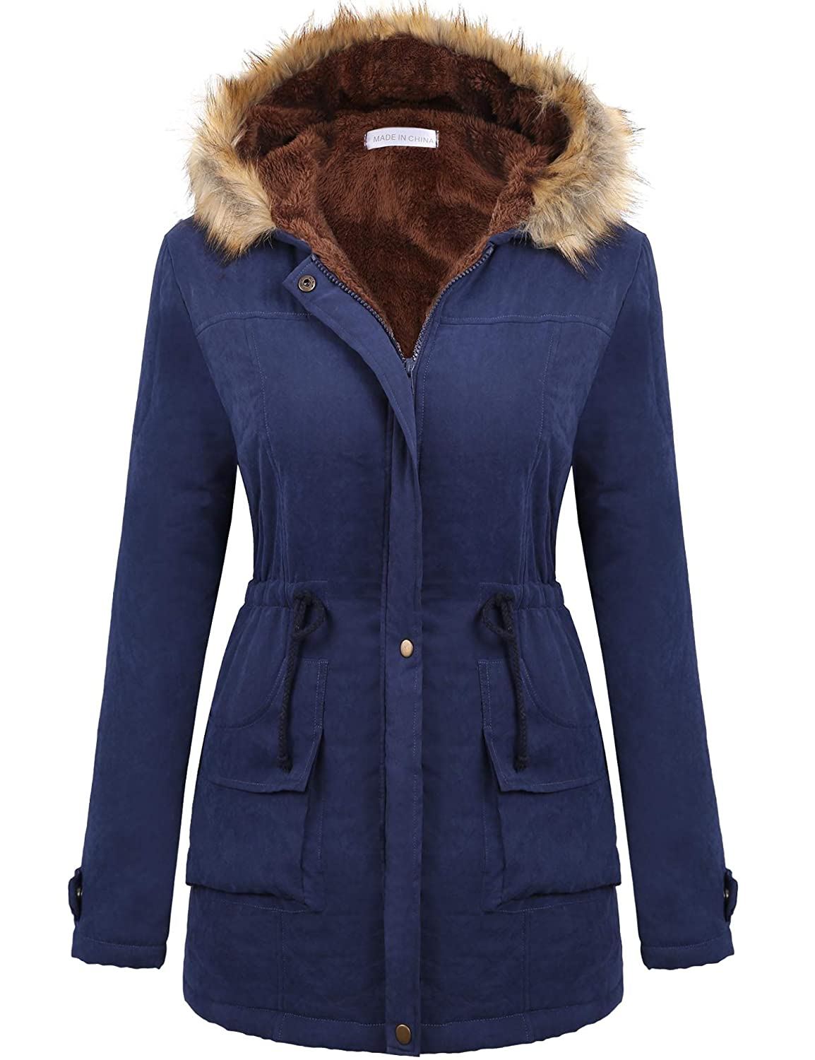 2024navy bluee Macr&Steve Winter Coats for Women, Military Hooded with Faux Fur Trim Winter Jacket ZipUp Front
