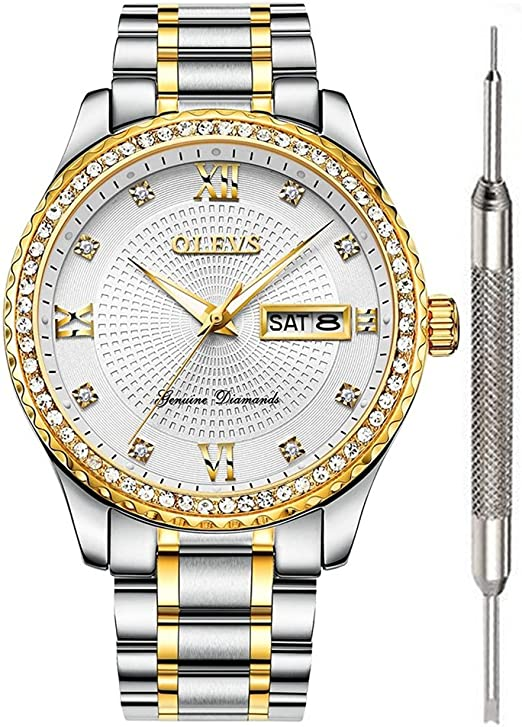 Amazon.com: OLEVS Mens Diamond Watches White Gold Luxury Watches