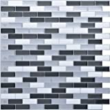 "Art3d Peel and Stick Wall Tile for Kitchen/Bathroom Backsplash, 12""x12"", Grey-White (6 Pack)"