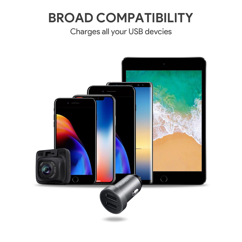 Grau HTC Tablets usw. 24W Samsung 5V // 4,8A /& Aluminium Kfz Ladeger/ät f/ür iPhone X // 8 // 8 Plus // 7 Nexus iPad Air // Pro // mini LG G5 // G6 AUKEY Auto Ladeger/ät