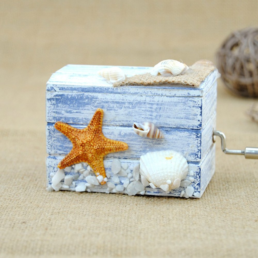 Wooden Music Boxes, Hand Crank Musical Box with Castle in the Sky by Samlong (Image #1)