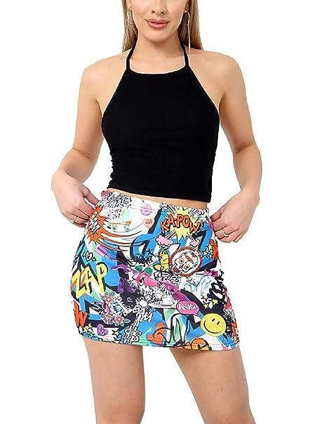 3b462ffc9 MA ONLINE Ladies Elasticated Stretchy Printed Short Skirt Womens Fancy  Bodycon Mini Skirt Bang Print XXX