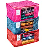 Kuber Industries™ Cotton Quilted Polka Dots Saree Cover Set of 3 Pcs (Red, Pink & Purple) Polka40