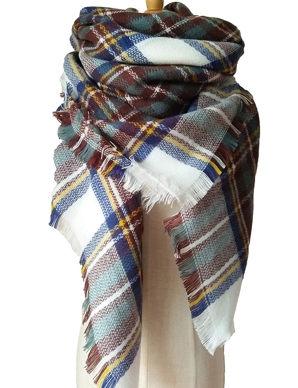 Lncropo Women's Plaid Scarf Winter Oversized Scarves Tartan Shawl Wrap Blanket Scarf Warm Tassels Pashmina Poncho Scarf