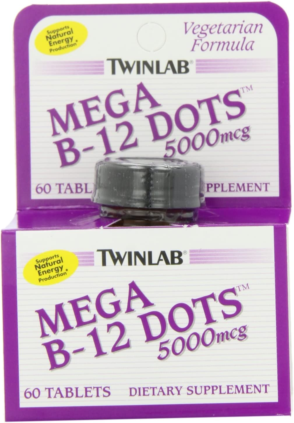 Twinlab Mega B-12 Dots Vitamin B-12, 5000mcg, 60 Tablets Pack of 2
