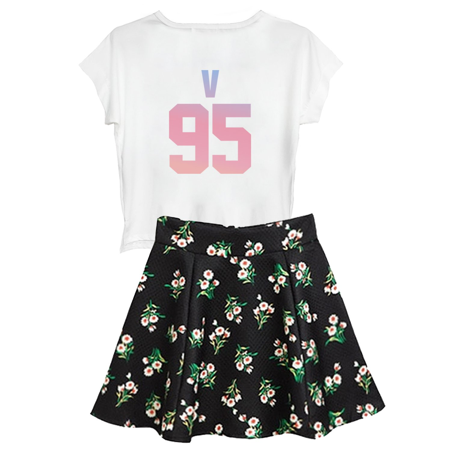 babyHealthy Kpop BTS Love Yourself Her Dress T-Shirt+Floral Skirt Two Piece Suit by babyHealthy (Image #2)