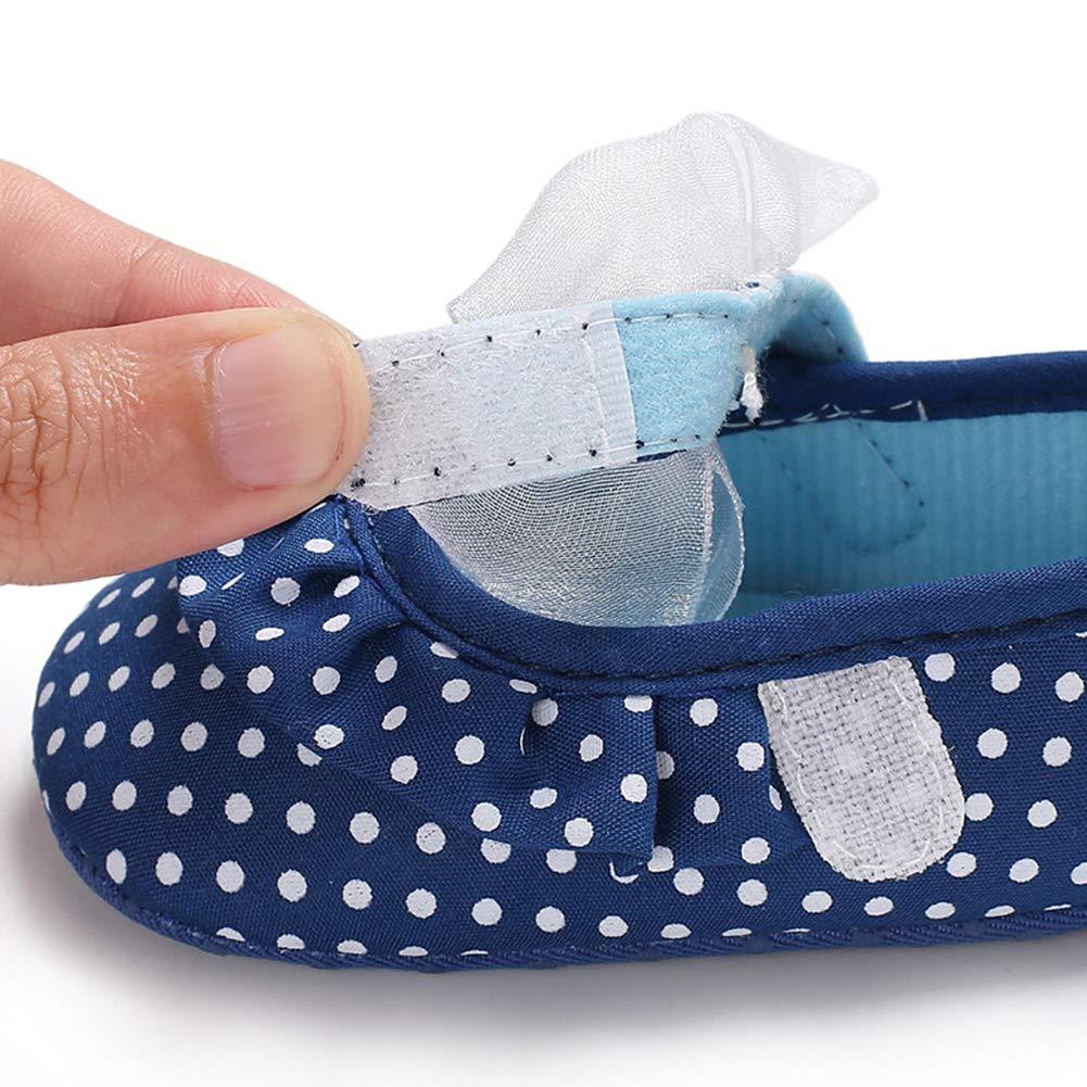6-8M dzsntsmgs Lovely Bowknot Dot Baby Girls Anti-Slip Soft Princess Prewalker Toddler Shoes Blue 12