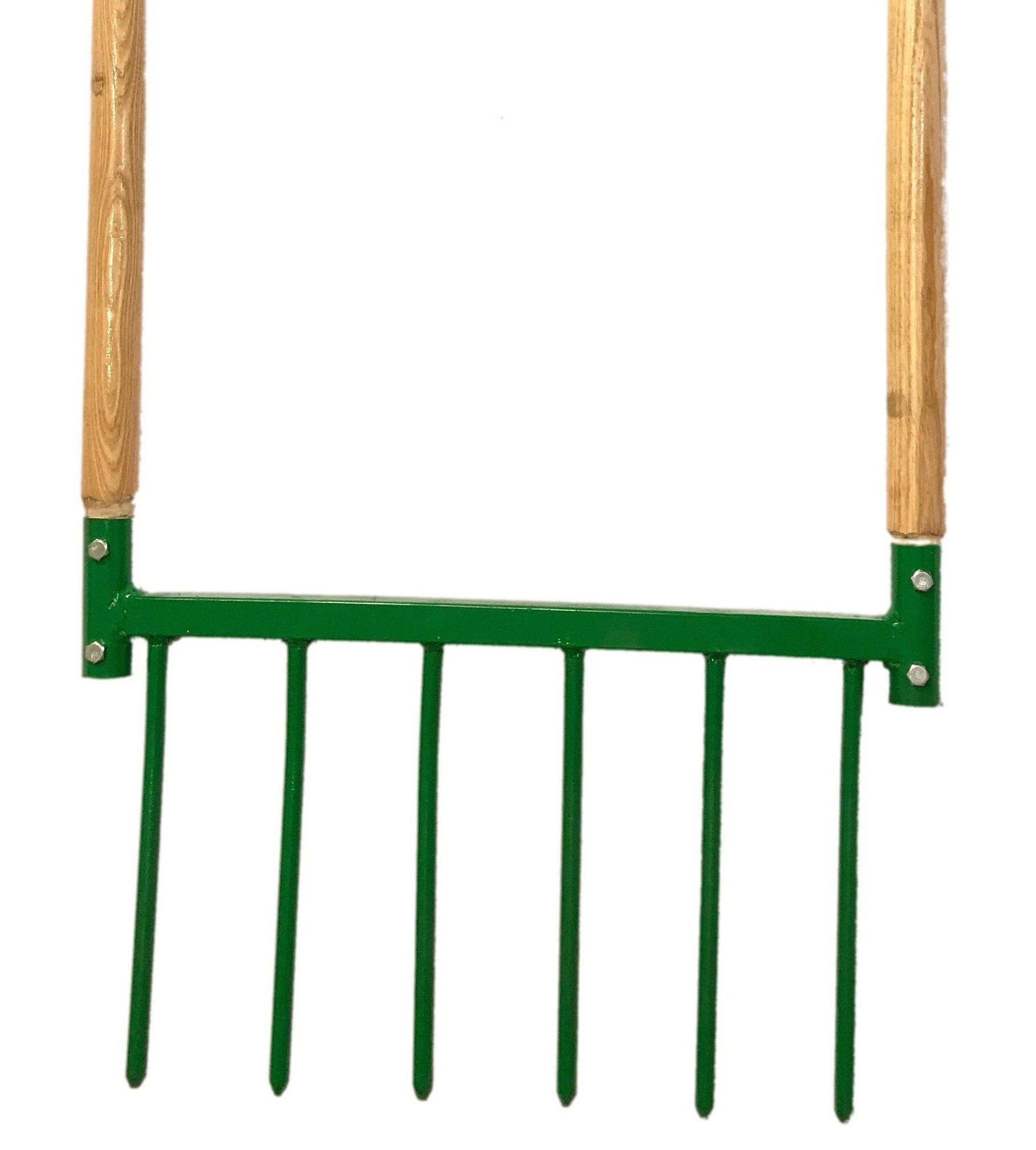 Broadfork Garden Hand Tiller - Wooden Handles, Steel - Aerates, Weeds, and Harvests - Made in U.S.A. with 1/2'' Steel Tines