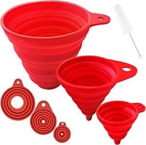 Funnels for Filling Bottles, Kitchen Funnels Set of 3, Food Grade Silicone Collapsible Funnel for Liquid Food and Powder Transfer
