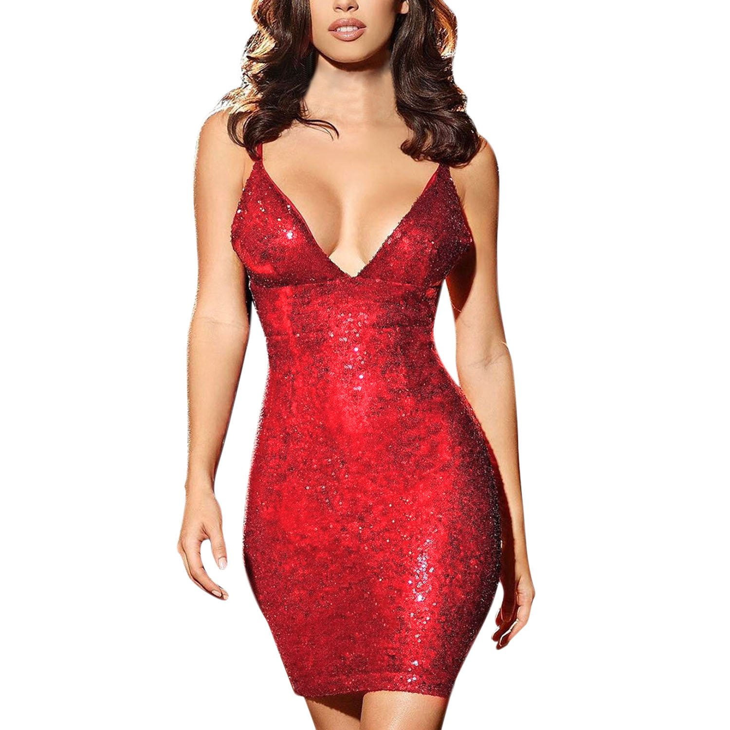 LAEMILIA Sexy Women Sequin Bodycon Mini Party Dress Shimmer Glam Sparkly Metallic Glitter Straps Sleeveless Stretchy Clubwear: Amazon.co.uk: Clothing