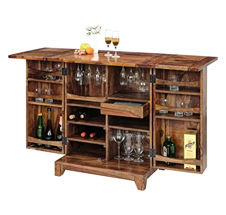 Ringabell Solid Wood Bar Cabinet with Honey Finish (Brown, Standard Size)