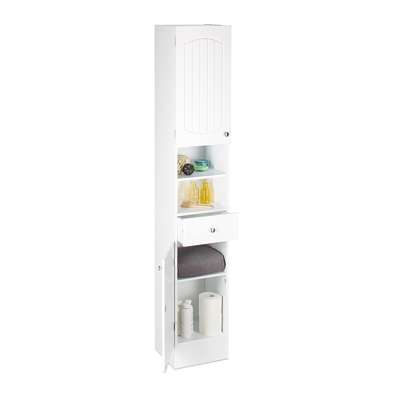 Relaxdays Scaffale stretto da bagno, con cassetto e mensole, armadietto multiuso, altezza x larghezza x profondità: 173,5x 30,5x 32cm, bianco 10020970