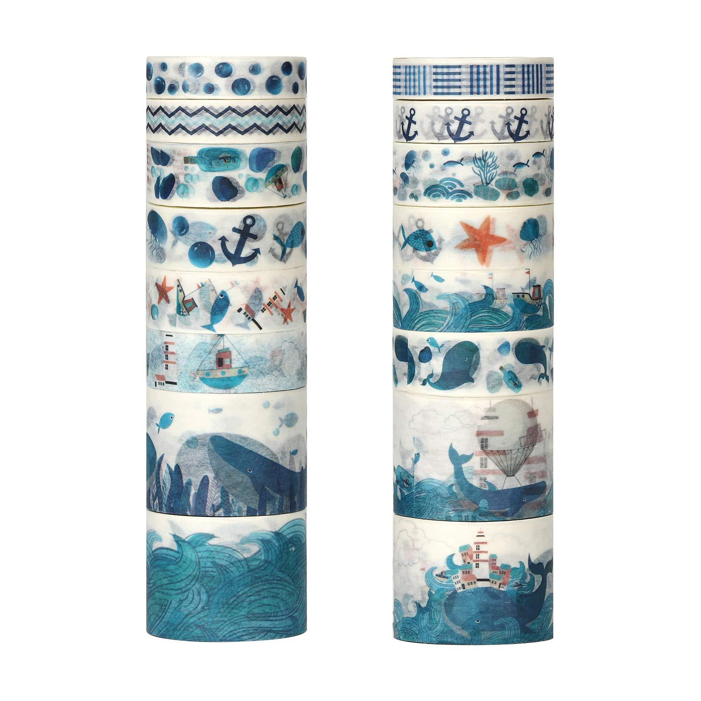 16 rolls cintas adhesivas con diseños marinos