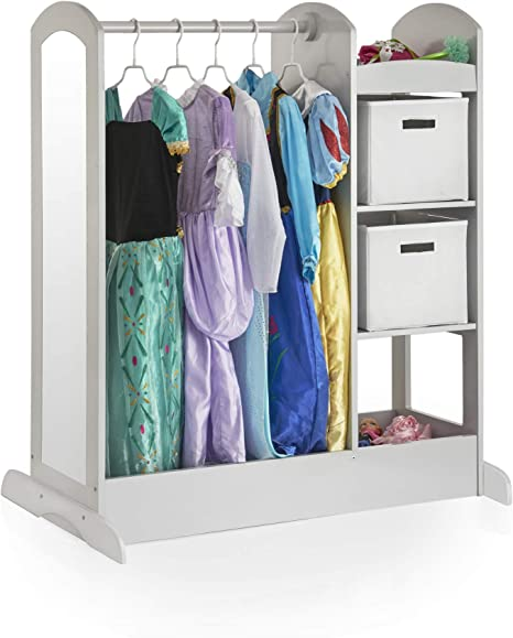 Toddlers Costume /& Toy Organizer Furniture Shelves /& Bottom Tray Rack Guidecraft See and Store Dress-up Center Grey: Kids Dramatic Play Storage Armoire with Mirror