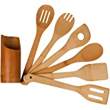 Organic Bamboo Utensil Set with A Holder,Wooden Cooking Spoons and Spatulas,Antimicrobial Kitchen Tools,Perfect for Nonstick Pan and Cookware,Natural and Eco-friendly Turners
