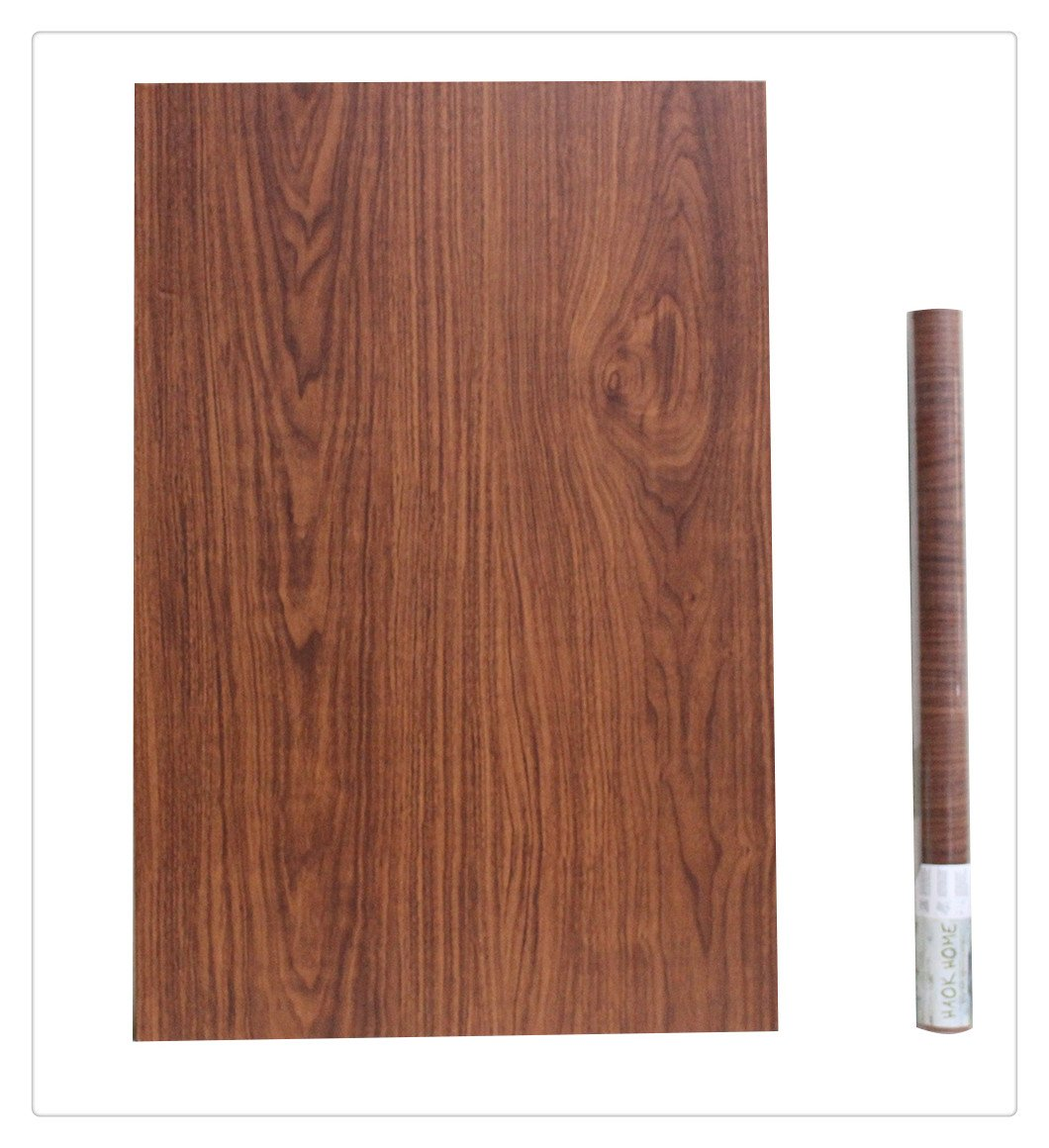 HAOKHOME 2604 Middle Brown Wood Contact Paper 17.7'' x 9.8ft Decorative Self-Adhesive Film,Wood Grain Shelf and Drawer Liner Table Door Sticker