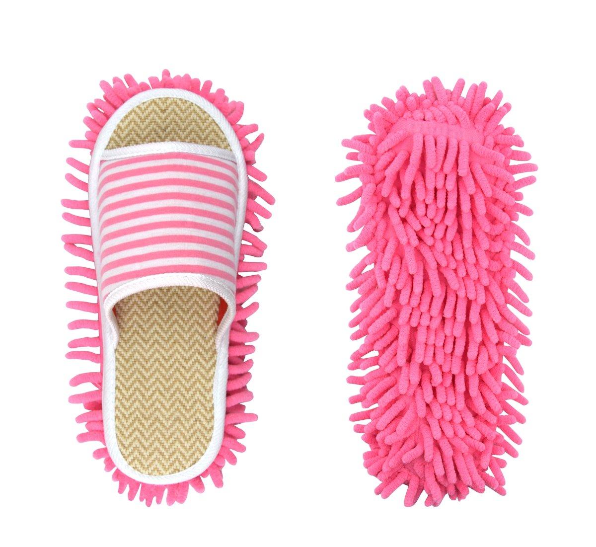Unisex Microfiber Slippers Floor Cleaning Mop Men and Women House Dusting Slippers Floor Cleaning Tool (Cartoon Black, Women 7-10/Men5-8)