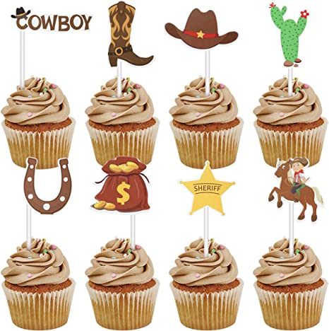 Wondrous Amazon Com Amosfun 72Pcs Cowboy Cupcake Toppers Little Western Funny Birthday Cards Online Alyptdamsfinfo