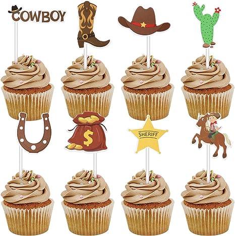 Astonishing Amazon Com Amosfun 72Pcs Cowboy Cupcake Toppers Little Western Funny Birthday Cards Online Alyptdamsfinfo