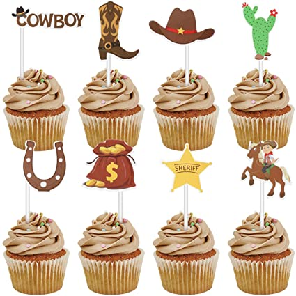 Magnificent Amosfun 72Pcs Cowboy Cupcake Toppers Western Theme Cake Topper Personalised Birthday Cards Sponlily Jamesorg