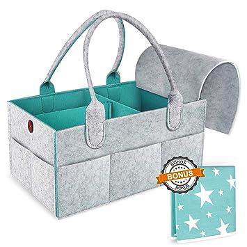 ff0a77ca4d2c Baby Diaper Caddy Organizer – Portable Large Nursery Storage Bin, Newborn  Registry Must Have, Best...
