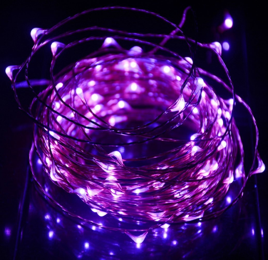 Fairy Lights Battery Operated String Lights 3M 30 LED Starry String Lights Copper Wire Waterproof Rope Lights Fairy Lights Firefly Lights for Festival Party Wedding Garden Bedroom Decoration/Lighting Use-Purple Aiwen