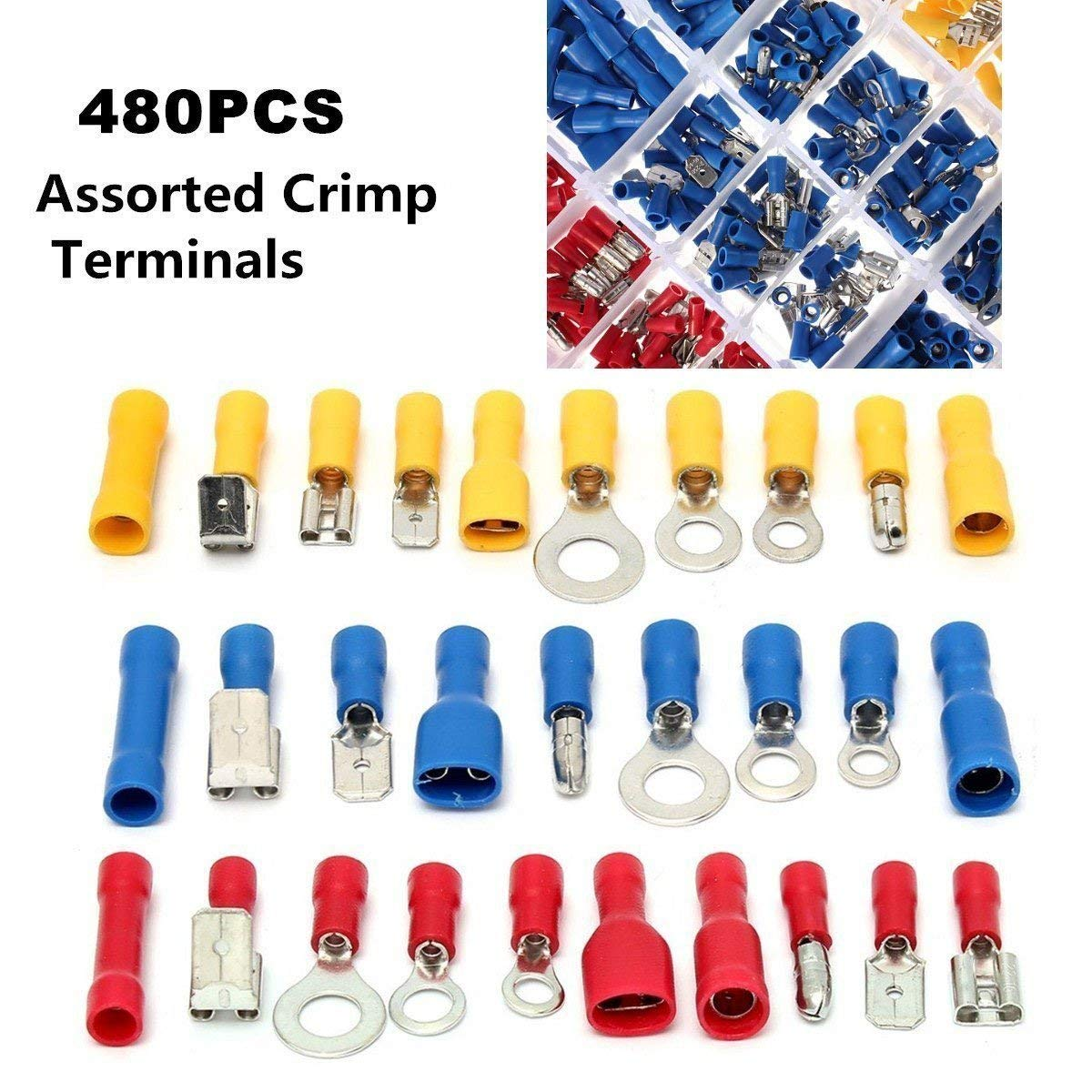 480pcs Premium Quality Assorted Insulated Electrical Wire Terminals Crimp Connectors Ring Spade Mixed Set