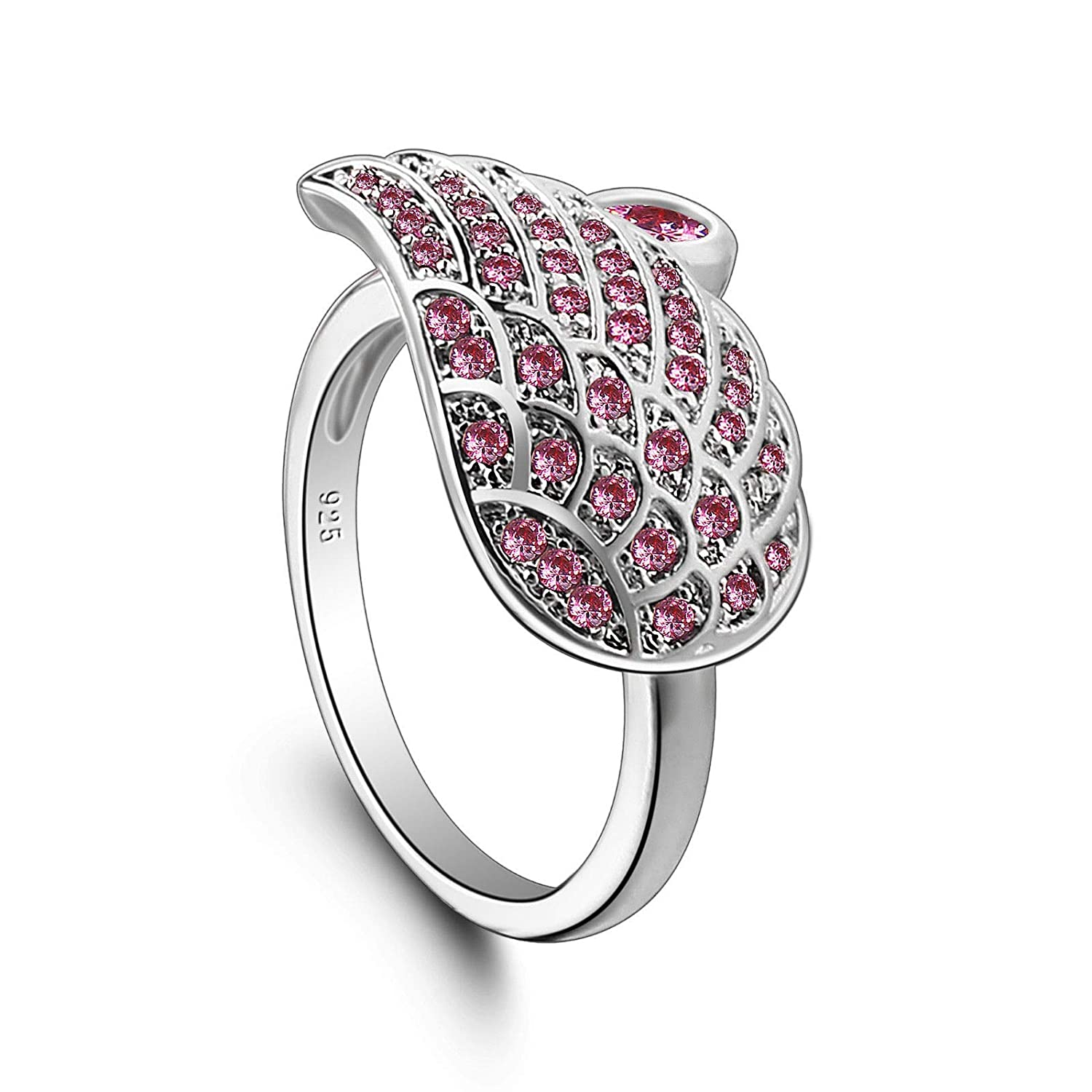 Gorgeous Silver Ring For Women Angle Wing Banquet Jewelry Pink Topaz Gemstone