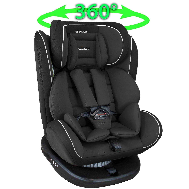 1-12 Jahre waschbar I ECE R44//04 XOMAX 916 Kindersitz drehbar 360/° mit ISOFIX und Liegefunktion I mitwachsend I 0-36 kg Gruppe 0//1//2//3 I 5-Punkt-Gurt und 3-Punkt-Gurt I Bezug abnehmbar
