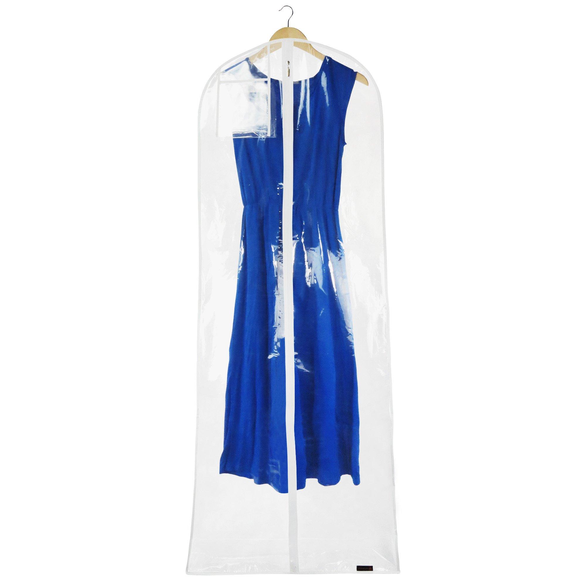 HANGERWORLD 72'' Clear Showerproof Dress Cover Bag - Internal Pocket & 8'' Gusset