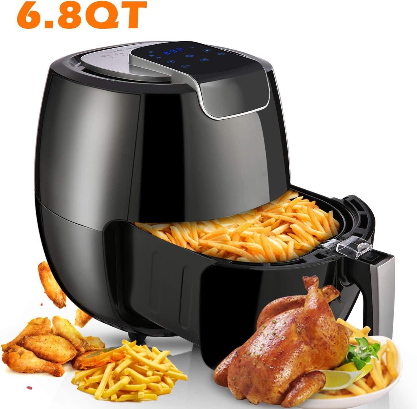 Air Fryer XL 6.8QT, 1800W Air Cooker Electric Hot Air Fryers Oven Oilless Cooker with LCD Digital Touchscreen