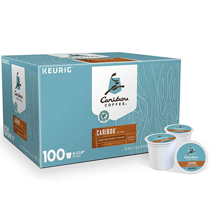 Caribou Coffee Keurig Single-Serve K-Cup Pods, Caribou Blend Medium Roast Coffee, (Caribou Blend Medium Roast, 100 K Cups)
